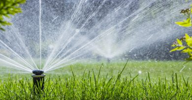 low-angle-shot-of-sprinklers-spraying-water-over-green-lawn