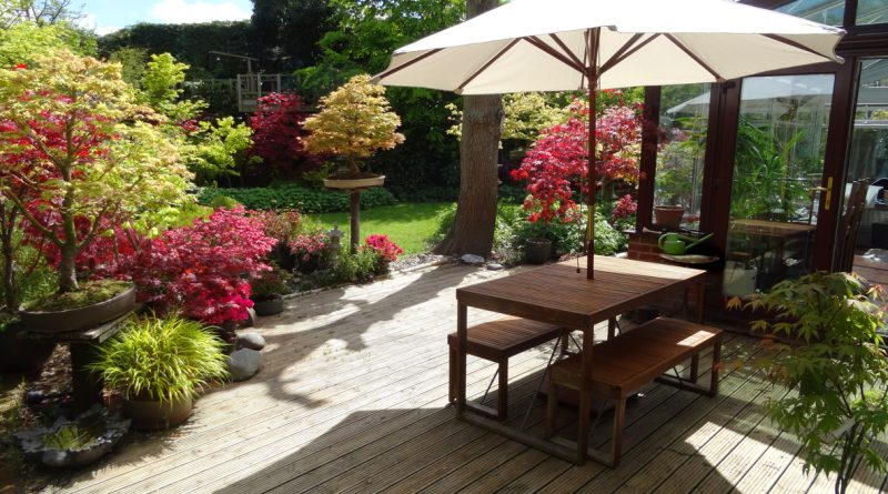 A patio with a wooden table and a white umbrella near a yard with colorful trees