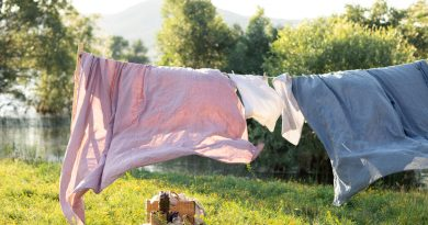 Purple and blue bed sheets hanging on a clothesline in a sunny yard with a breeze.