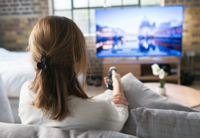 A woman using a remote control to change the channel on an LCD TV on the other side of the room while she sits on a couch.