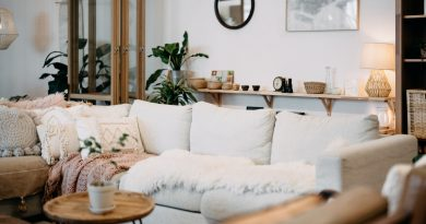 Living room following interior design trends with cozy pillows and statement lighting