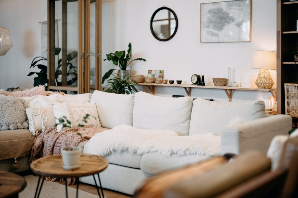 low-shelving using the space behind the couch