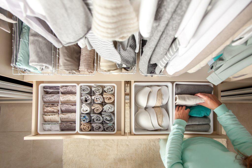storage bins make a closet feel bigger