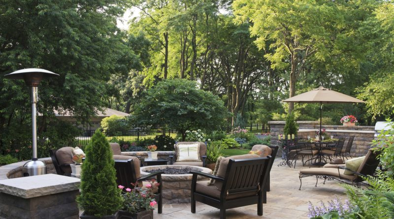 patio heaters in a beautiful backyard setting.